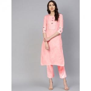 Ishin Women Pink Yoke Design Straight Kurta
