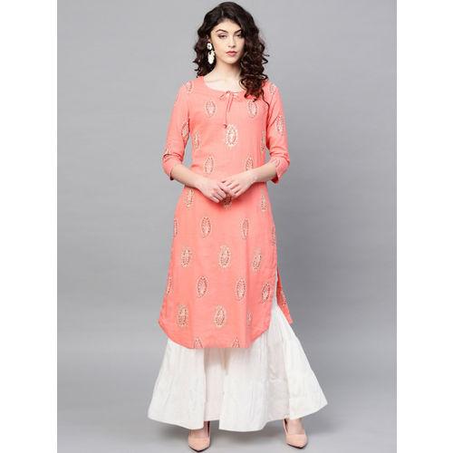 Ishin Women Pink Printed Straight Kurta