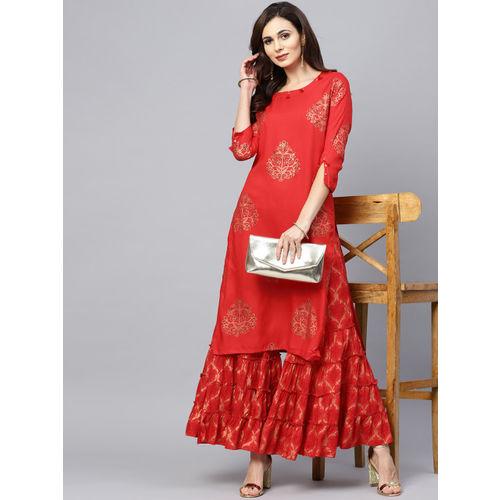 Ishin Women Red Printed Kurta with Sharara