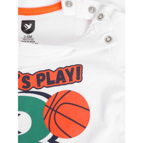 612 league Boys Coral Orange & Green Regular Fit Checked Casual Shirt with T-shirt