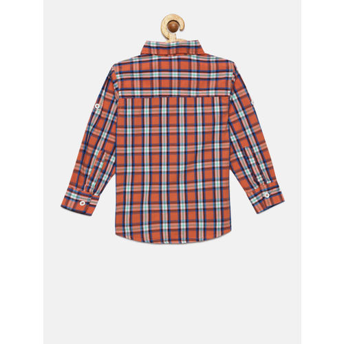 612 league Boys Orange & Navy Blue Checked Casual Shirt With a T-shirt