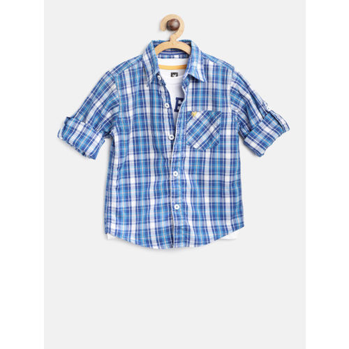 612 league Boys Blue & White Regular Fit Checked Casual Shirt