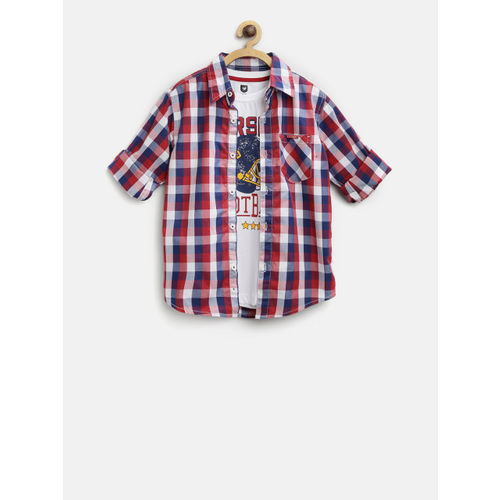 612 league Boys Red & Navy Blue Checked Casual Shirt with T-shirt