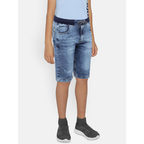 612 league Boys Blue Washed Regular Fit Denim Shorts