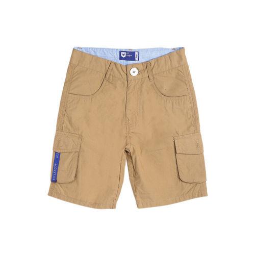 612 league Boys Khaki Printed Regular Fit Regular Shorts