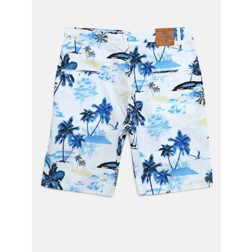 612 league Boys White & Blue Printed Regular Fit Shorts