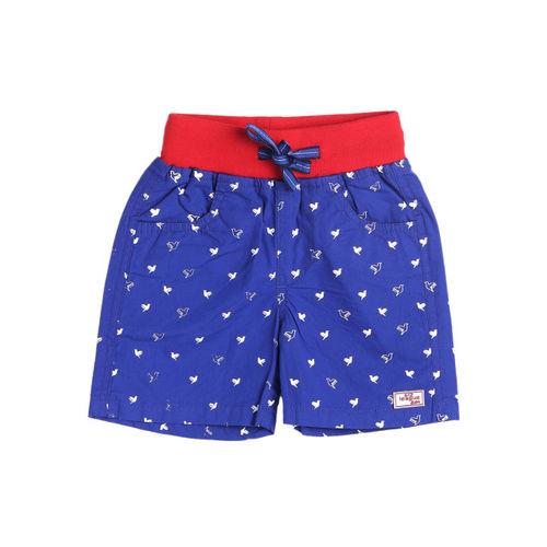 612 league Boys Blue Printed Regular Fit Regular Shorts