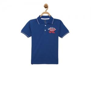 612 League Kids Royal Blue Printed Polo T-Shirt