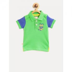 612 league Boys Green Solid Polo Collar T-shirt