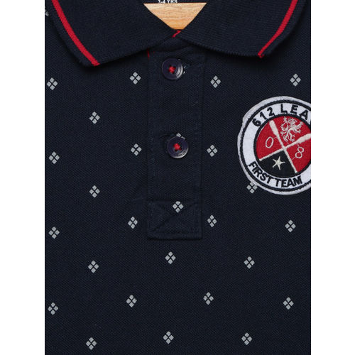 612 league Boys Navy Blue Printed Polo Collar T-shirt