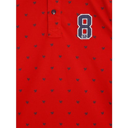 612 league Boys Red Printed Polo Collar T-shirt