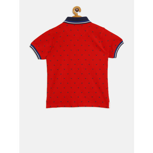 612 league Boys Red & Navy Printed Polo Collar T-shirt