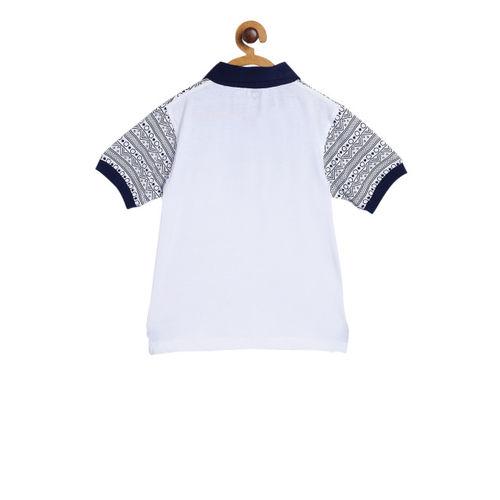 612 league Boys White Printed Polo Collar T-shirt