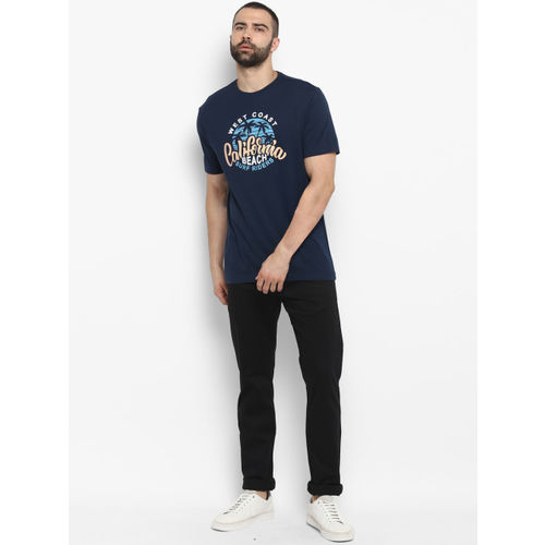Red Tape Men Navy Blue Printed Round Neck T-shirt