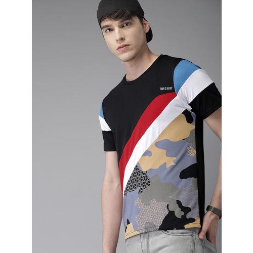 Moda Rapido Men Black & Blue Printed Round Neck T-shirt