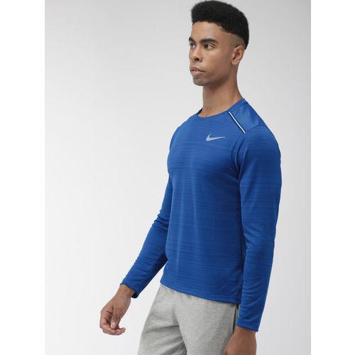 Nike Men Blue Striped AS DRY MILER LS Round Neck T-shirt