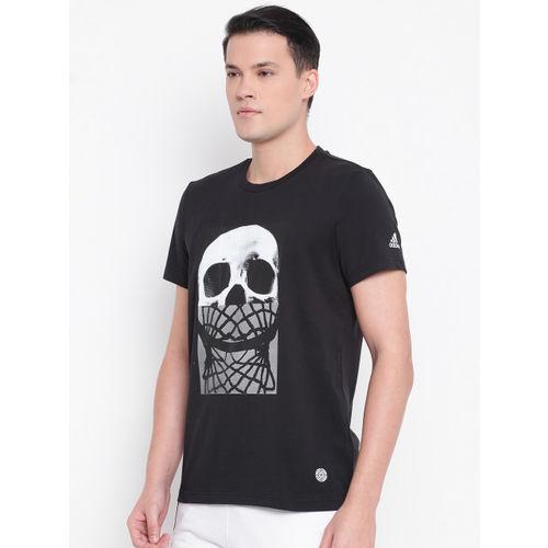 ADIDAS Men Black Skull & Net Print Round Neck T-shirt