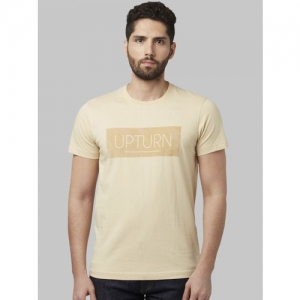 Park Avenue Men Beige Printed Round Neck T-shirt