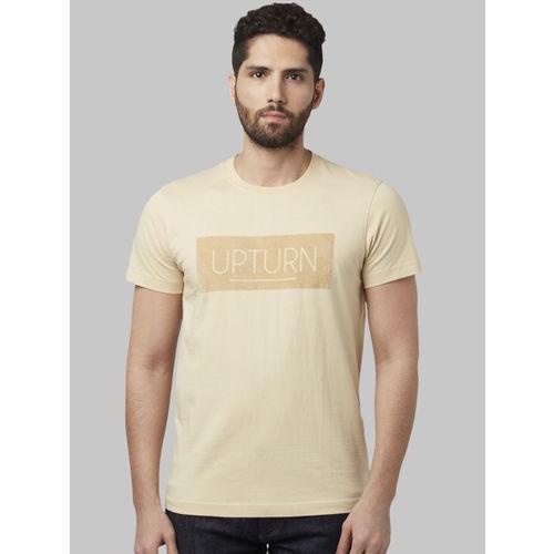 Park Avenue Men Beige Printed Round Neck T-shirt