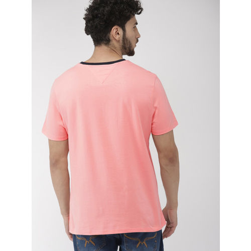 Tommy Hilfiger Men Pink Self Design Round Neck T-shirt