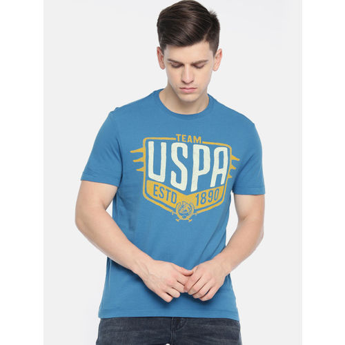 U.S. Polo Assn. Denim Co. Men Blue Printed Round Neck T-shirt
