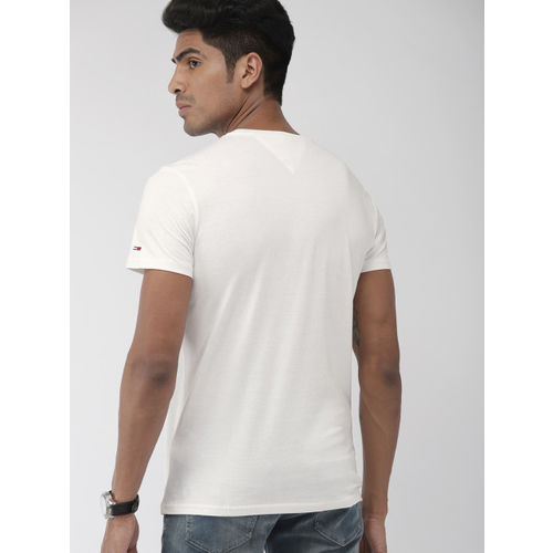 Tommy Hilfiger Men Off-White & Black Solid Round Neck T-shirt