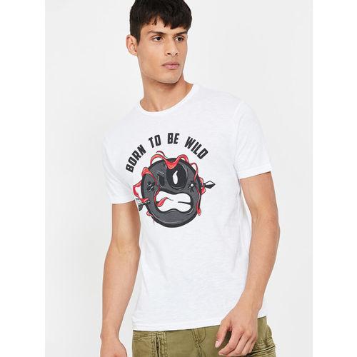 Smiley World Men White Printed Round Neck T-shirt