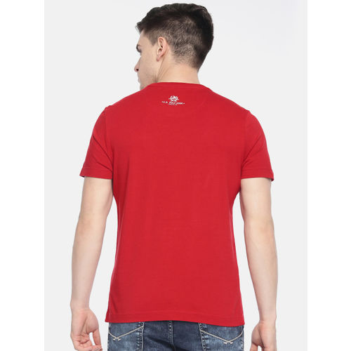 U.S. Polo Assn. Denim Co. Men Red Printed Round Neck T-shirt