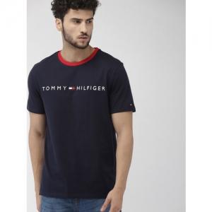 Tommy Hilfiger Men Navy Blue Embroidered Round Neck T-shirt
