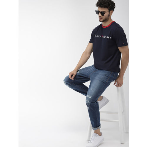 Tommy Hilfiger Men Navy Blue Embroidered Round Neck T-shirt