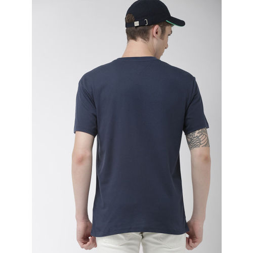 Tommy Hilfiger Men Navy Blue & Orange Printed Round Neck T-shirt