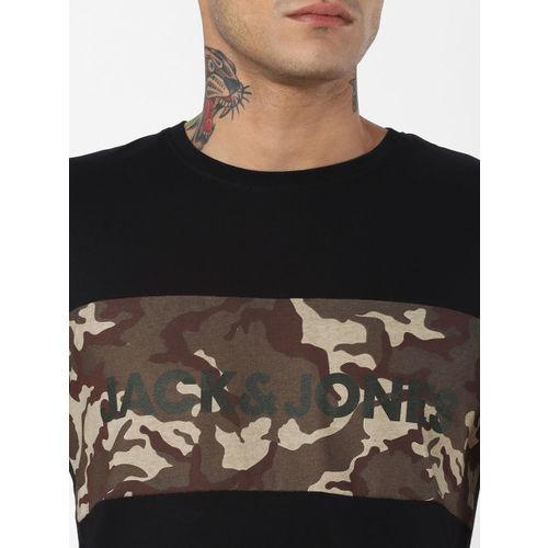 Jack & Jones Men Black Camouflage Printed Round Neck T-shirt