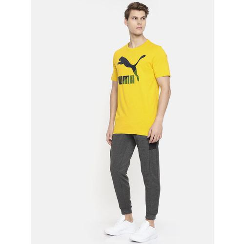 Puma Men Mustard Yellow & Black Printed Round Neck Classics Logo Sulphur T-shirt