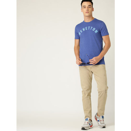 United Colors of Benetton Men Blue Printed Detail Round Neck T-shirt