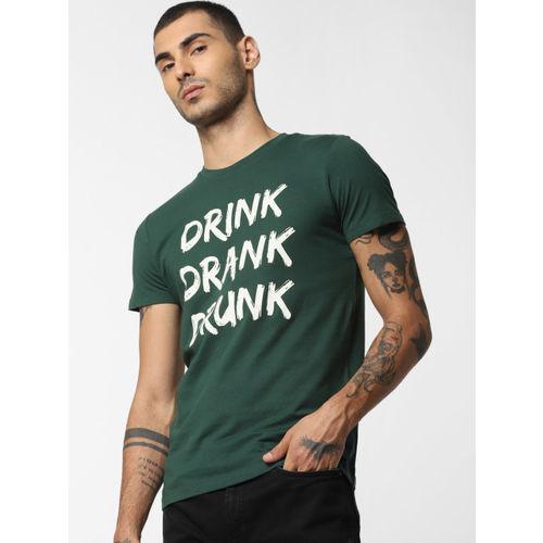 Jack & Jones Men Sea Green & White Slim Fit Printed Round Neck T-shirt