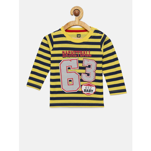 612 league Boys Yellow & Navy Blue Striped Round Neck T-shirt