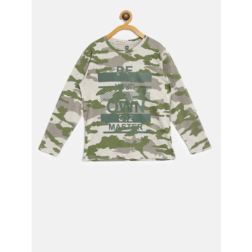 612 league Boys Grey Melange & Green Camouflage Print Round Neck T-shirt