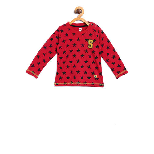612 league Boys Red & Black Printed Round Neck T-shirt