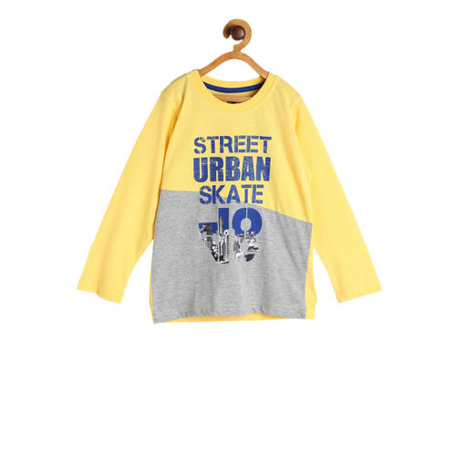 612 league Boys Yellow & Grey Printed Round Neck T-shirt