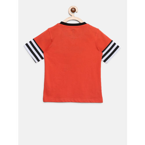 612 league Boys Orange Printed Round Neck T-shirt