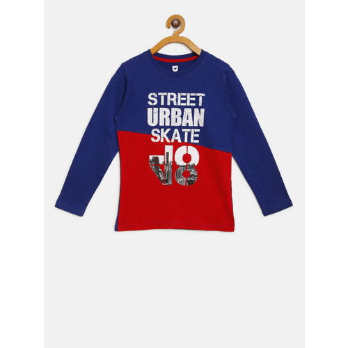612 league Boys Blue & Red Colourblocked Printed Round Neck T-shirt
