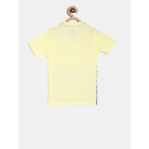 612 league Boys Yellow & Green Printed Round Neck T-shirt