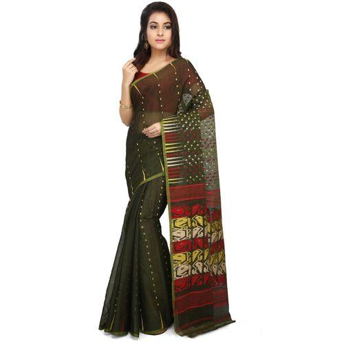 Aahiri Plain Daily Wear Cotton Silk Saree(Black)