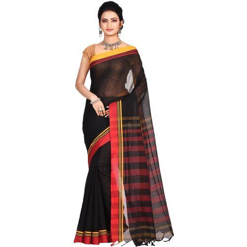 Aahiri Striped Handloom Cotton Blend Saree(Black)