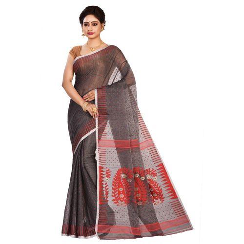 Aahiri Woven Jamdani Cotton Silk Saree(Black)