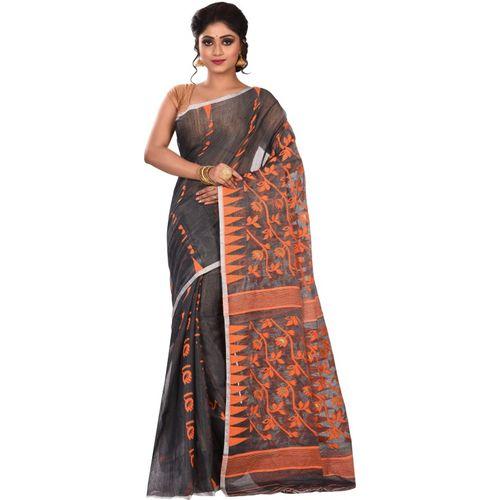 Aahiri Embroidered Jamdani Handloom Silk Cotton Blend Saree Without Blouse Piece (Black)