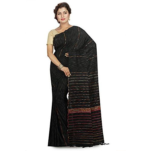 Aahiri Women's Woven Tant Cotton Saree with Blouse Piece (Black)
