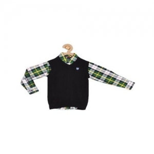 612 League Kids Black & Green Plaid Shirt With Sweater