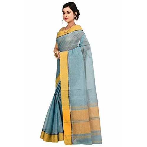Aahiri Women's Woven Tant Cotton Saree without Blouse Piece (Blue)