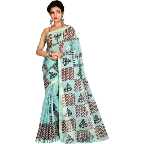 Aahiri Plain Handloom Pure Cotton Saree(Blue)